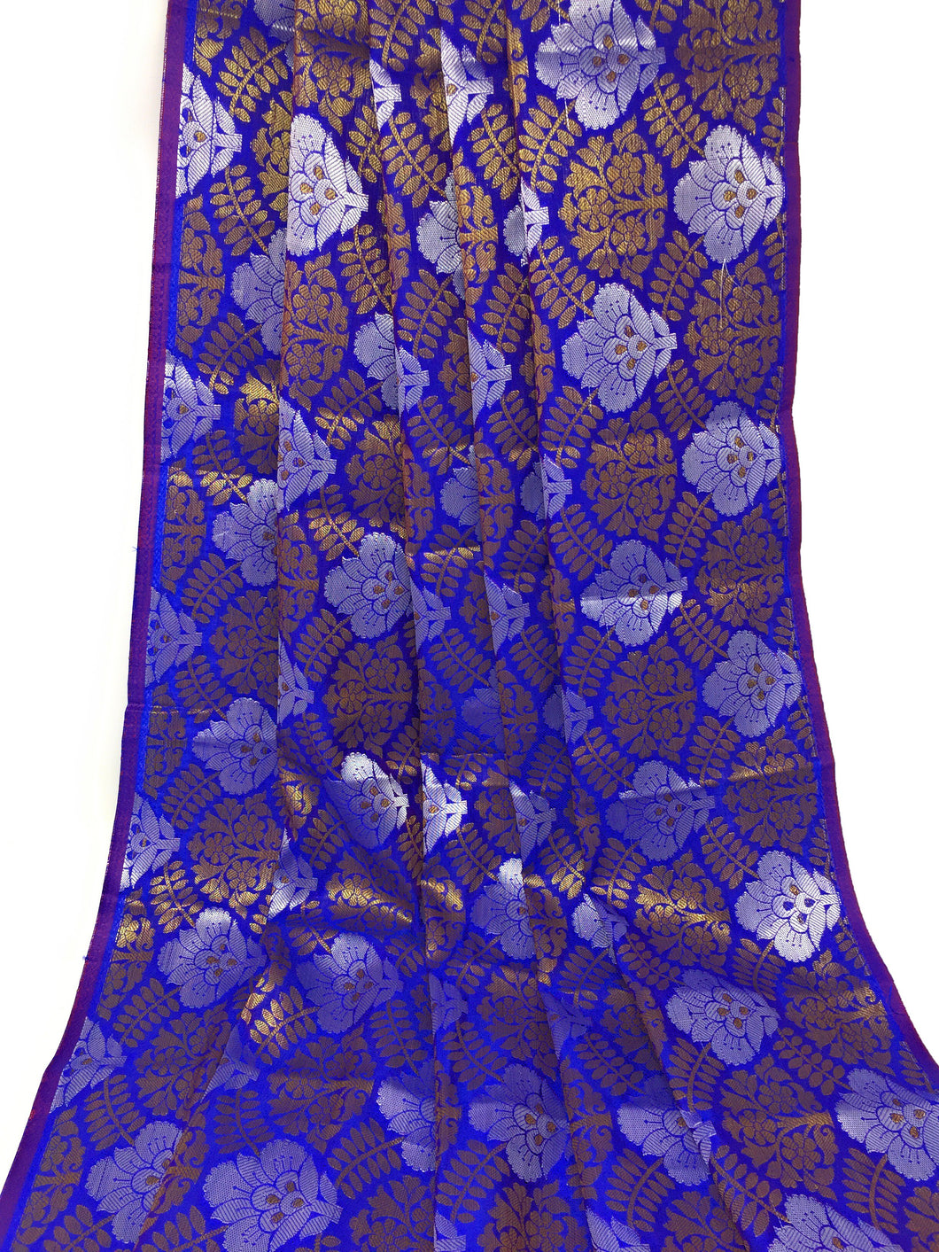 Blue Brocade Fabric, Silver Gold Jacquard Work
