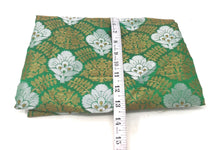 Load image into Gallery viewer, Green Jacquard Brocade Fabric, Silver Gold Work By The Yard - 1.5 Meter
