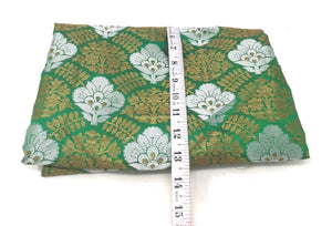 Green Jacquard Brocade Fabric, Silver Gold Work By The Yard - 1.5 Meter