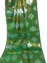 Load image into Gallery viewer, Green Jacquard Brocade Fabric, Silver Gold Work