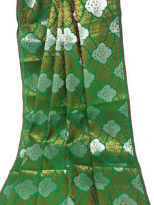 Green Jacquard Brocade Fabric, Silver Gold Work