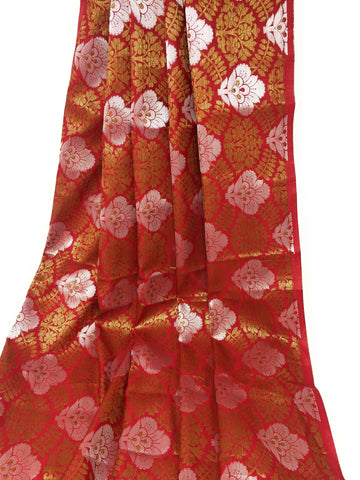 Image of Maroon Brocade Fabric, Silver Gold Jacquard Work