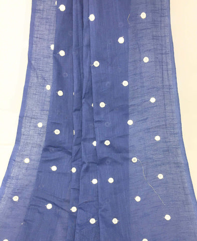 Image of Mirror Work Cloth In Pure Cotton In Dark Grey