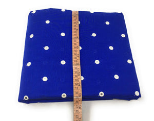 Mirror Work Cloth In Cotton Material In Blue Fabric By The Yard