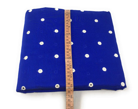 Image of Mirror Work Cloth In Cotton Material In Blue Fabric By The Yard