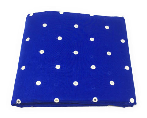 Image of Mirror Work Cloth In Cotton Material In Blue Fabric By The Yard - 1.5 Meter