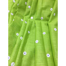 Load image into Gallery viewer, Green Mirror Work Cotton Fabric for Blouse Kurti - fabric Silver Paper Mirror Embroidery Bandhani Look Mirrorfabric_cotton