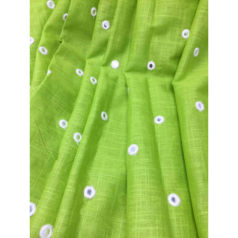 Green Mirror Work Cotton Fabric for Blouse Kurti - fabric Silver Paper Mirror Embroidery Bandhani Look Mirrorfabric_cotton