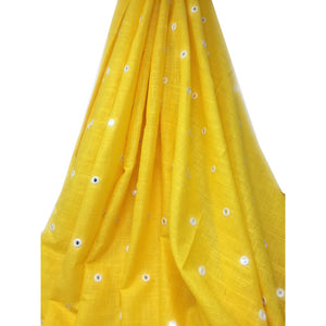 yellow colour cotton dress material with blye - Dress Material