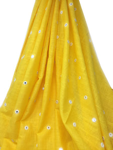 yellow silver mirror embroidered fabric