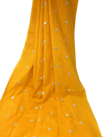 mango yellow pure cotton mirror embroidery fabric material