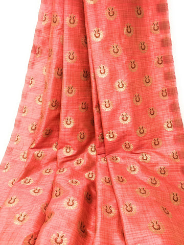 Image of Pink Brocade Blouse Material, Gold Bronze Jacquard Work