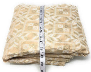 Pastel Shade Beige Brocade Fabric, White N Gold Jacquard Work Fabric By The Yard - 1.5 Meter