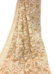 Pastel Shade Beige Brocade Fabric, White N Gold Jacquard Work