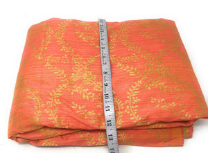 Peach Orange Gold Synthetic Brocade Fabric Unsttiched Fabric Online - 1.5 Meter