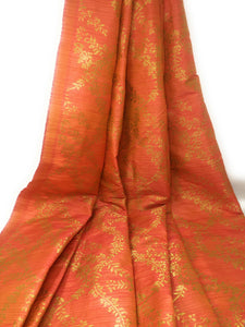 Peach Orange Gold Synthetic Brocade Fabric