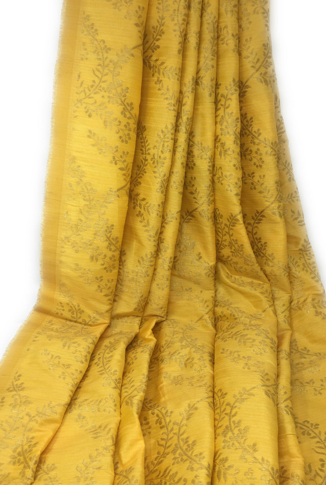 Yellow Brocade Fabric With Gold Jacquard Work