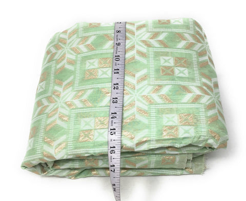 Pastel Shade Green Brocade Fabric, White N Gold Jacquard Work Cloth Material Online - 1.5 Meter