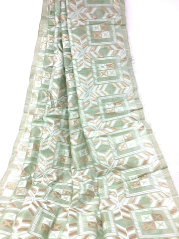 Image of Pastel Shade Green Brocade Fabric, White N Gold Jacquard Work