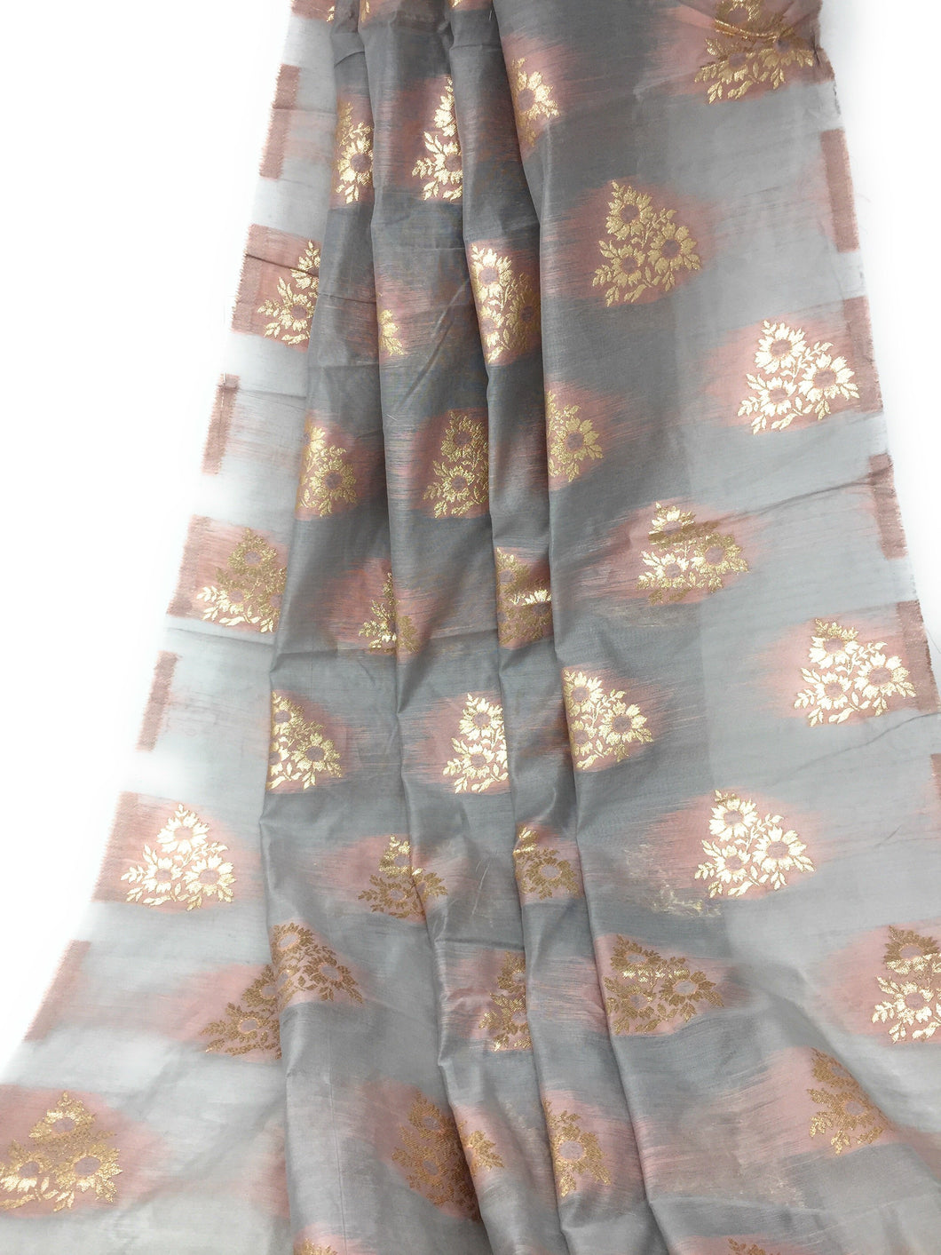 Brocade Cotton Mix Fabric In Grey Peach N Gold