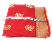 Load image into Gallery viewer, Brocade Silk Fabric In Red N Gold Cloth By The Yard - 1.5 Meter