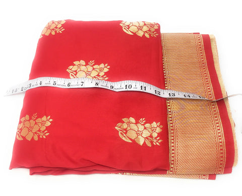 Image of Brocade Silk Fabric In Red N Gold Cloth By The Yard - 1.5 Meter