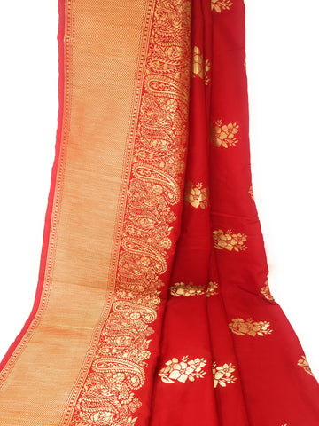 Image of Brocade Silk Fabric In Red N Gold