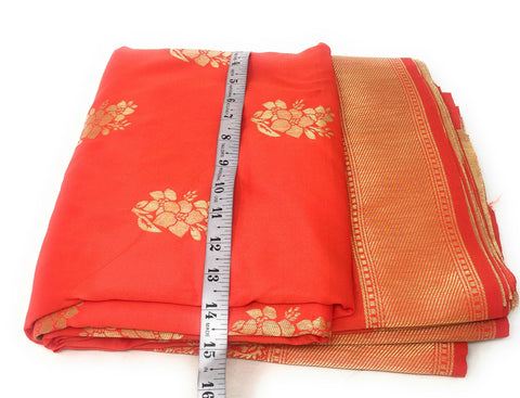 Brocade Fabric In Tomato Red And Gold Fabric By The Yard - 1.5 Meter