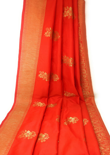 Brocade Fabric In Tomato Red And Gold