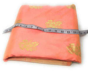 Brocade Fabric In Pink Peach And Gold Unsttiched Fabric Online - 1.5 Meter