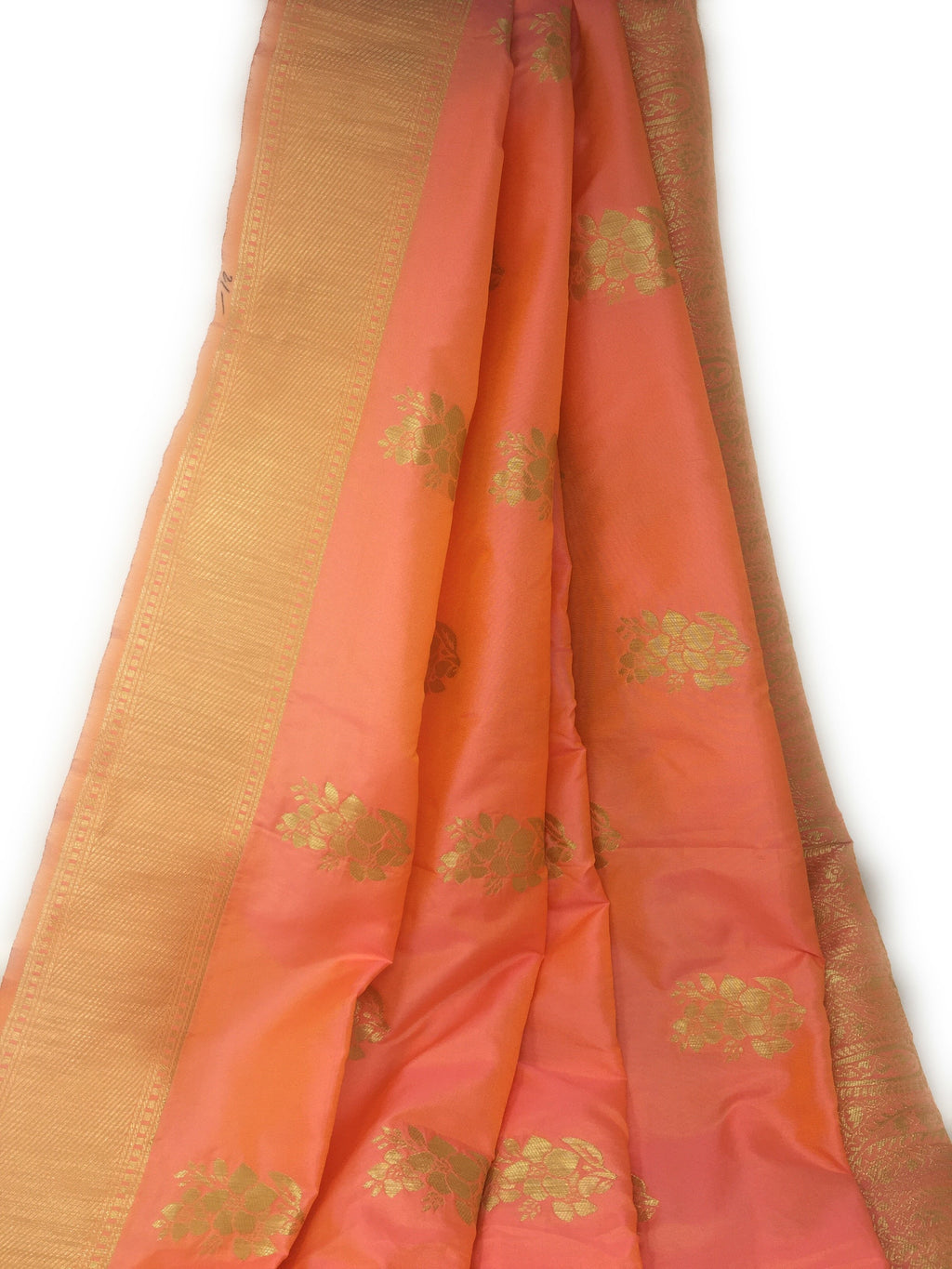 Brocade Fabric In Pink Peach And Gold
