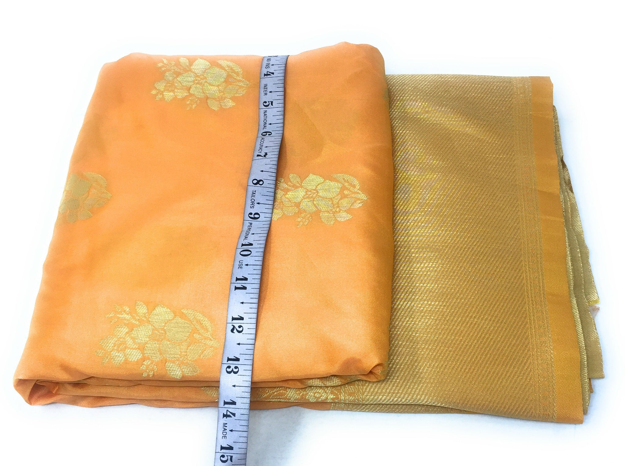 Brocade Material In Mango Orange N Gold Indian Fabric Online - 1.5 Meter