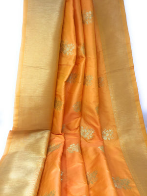 Brocade Material In Mango Orange N Gold