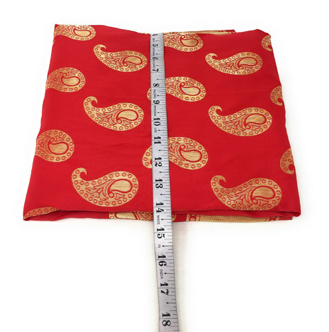 Red Brocade Fabric With Gold Paisley Motifs N Gold Border Cloth Material Online - 1.5 Meter