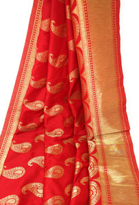 Red Brocade Fabric With Gold Paisley Motifs N Gold Border