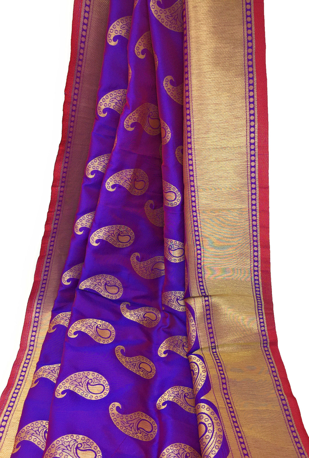 Purple Brocade Fabric With Gold Paisley Motifs N Gold Border