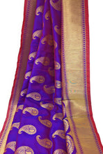 Load image into Gallery viewer, Purple Brocade Fabric With Gold Paisley Motifs N Gold Border