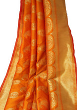 Load image into Gallery viewer, Orange Banarasi Brocade Fabric With Gold Paisley Motifs N Gold Border