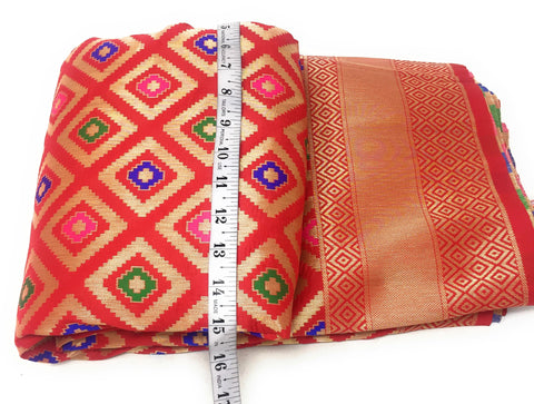 Red Brocade Material Cloth By The Yard - 1.5 Meter
