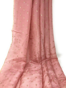 Dusty Pink Printed Fine Crisp Silk Cloth