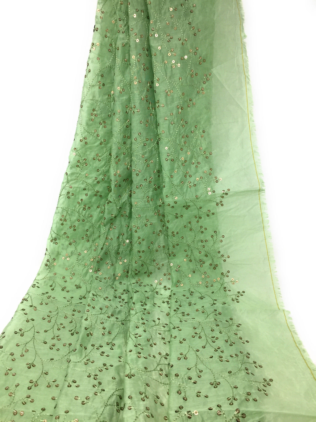 Green Chanderi Fabric, Self Threadwork, Green Sequins Embroidery