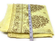 Load image into Gallery viewer, Yellow Uppada Silk Fabric With Floral Work In Beads Cloth By The Yard - 1.5 Meter