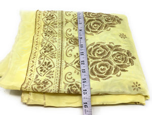 Yellow Uppada Silk Fabric With Floral Work In Beads Cloth By The Yard - 1.5 Meter