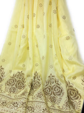 Load image into Gallery viewer, Yellow Uppada Silk Fabric With Floral Work In Beads