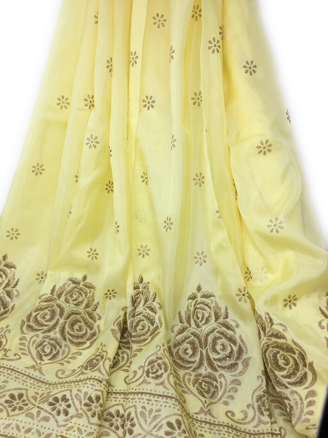 Yellow Uppada Silk Fabric With Floral Work In Beads