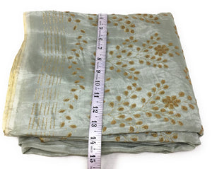 Salge Green Uppada Silk Fabric With Bead Floral Work Fabric By The Yard - 1.5 Meter