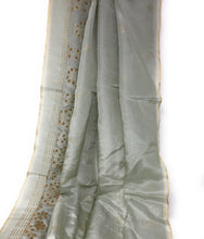 Load image into Gallery viewer, Salge Green Uppada Silk Fabric With Bead Floral Work