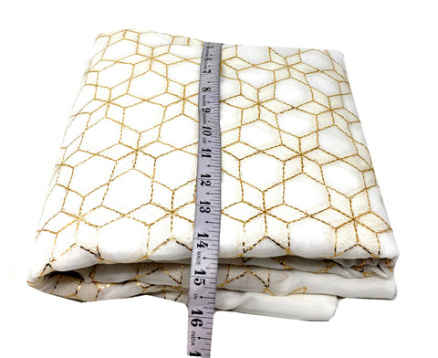 White Embroidered Georgette Fabric With White And Gold Embroidery Unsttiched Fabric Online - 1.5 Meter