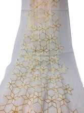 Load image into Gallery viewer, White Embroidered Georgette Fabric With White And Gold Embroidery
