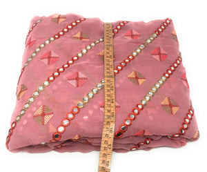 Mirror Work Fabric In Thulian Pink On Georgette Material Indian Fabric Online - 1.5 Meter